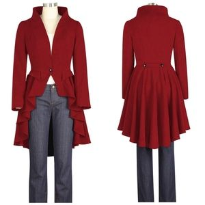 Jackets & Blazers - Plus Size Collar Long Tail High Low Jacket Red